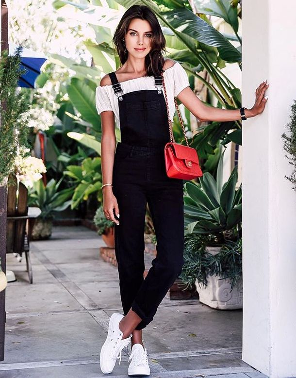 4. off shoulder top with denim overalls and sneakers