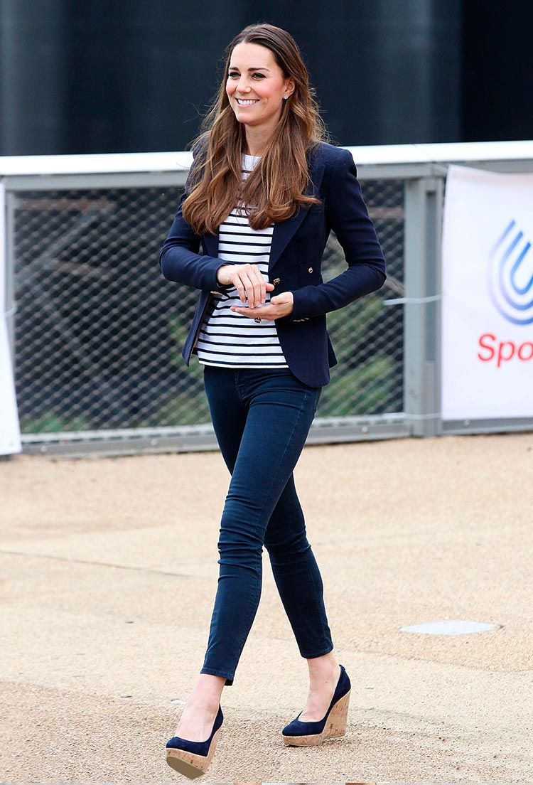 breton striped top with blazer and jeans